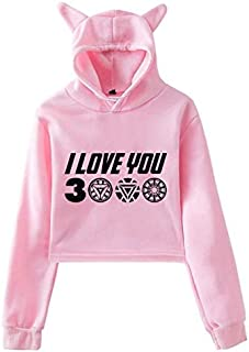 New style The Avengers I Love You 3000 times printing cat ears Women girl trend hoodie Long Sleeve crop top sexy Hoodie Hip Hop Sweatshirt