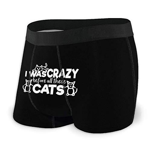 Lawenp I Was Crazy Before The Cats Ropa Interior Transpirable para Hombre Boxer con Cinturilla Suave y cómoda
