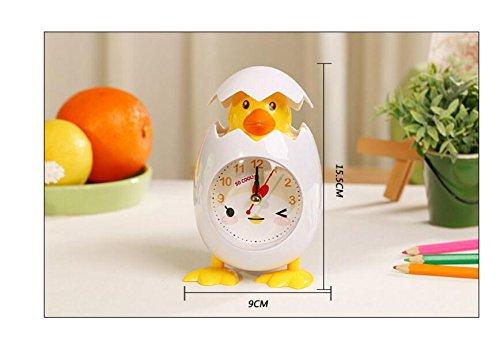Warmman Kreative Schöne Geschenk Dekoration Cartoon Neuheit Wecker Huhn Eierschale Desktop Wecker (Weiß)