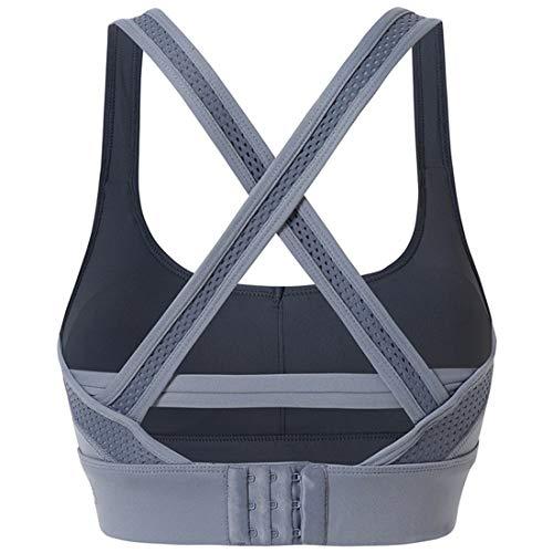 Damen Sport-BH, hohe Belastung, gekreuzter Rücken, gepolstert, für Workout, Laufen, Yoga, Activewear für Frauen (Farbe: Blau, Größe: L)