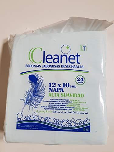 144 ESPONJAS CLEANET alta suavidad. Desechables bebes, niños y adultos Esponja Bebe Piel Sensible 6 paquetes de 24 esponjas