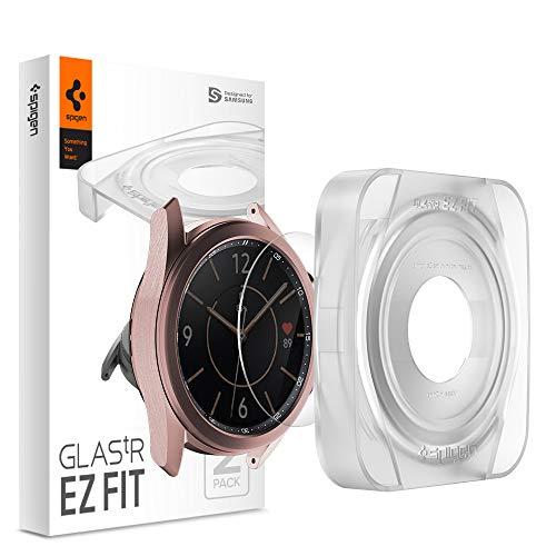 Spigen 【2枚セット】 Galaxy Watch 3 41mm用 ガラスフィルム 【貼り付けキット付き】 薄さ0.33mm 強化ガラス 液晶保護フィルム 高透過率 貼り付け簡単 9H硬度 撥油加工 飛散防止 【Glas.tR EZ Fit】