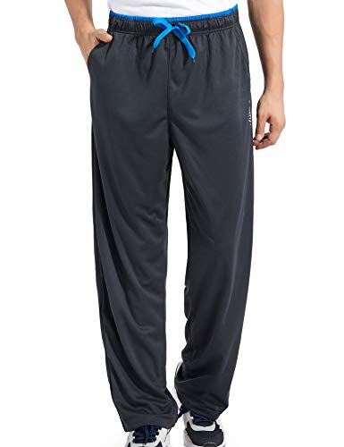 Duuluup Mens Sweatpants with Pockets Open-Hems Workout Pants Jogger Athletic Pants (Grey&Blue with Pocket,M)