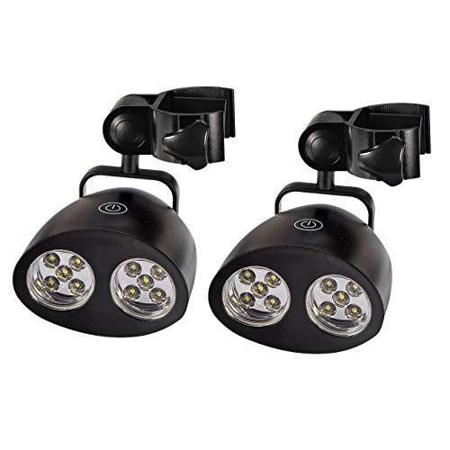 Perfit 2 lámparas para barbacoa, rotación de 360° con 10 luces LED brillantes, resistentes al calor, lámpara LED para iluminación de gas, barbacoa, camping, senderismo, ciclismo