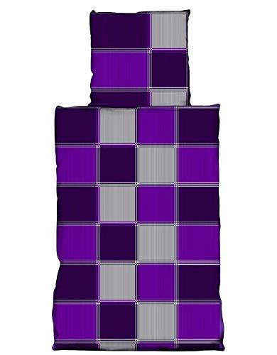 4 tlg. Microfaser Bettwäsche Set in verschiedene Designs ✔ 135x200 ✔ 155x220 ✔ mit 80x80 Kissenbezug ✔ (135 cm x 200 cm, Karo Timothy)