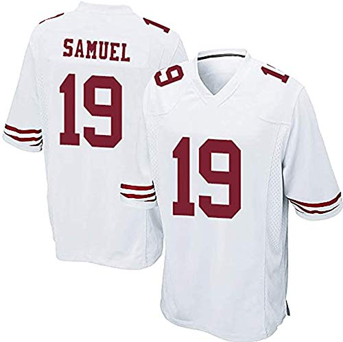 XIKONG Samuel 19# Camiseta de rugby 49ers, malla de secado rápido abanico de manga corta, sudadera, camiseta de fútbol americano, Estilo, color blanco, tamaño xx-large