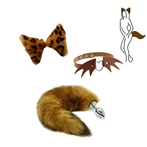 Boost Happiness Life - Furry Fox Pl-úg an-ǎl Tail Set Cosplay Demon Shaped Collar Disfraz de Halloween (Leopard)