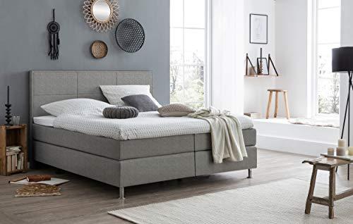 FELIX BETTEN Box Spring Bed 180 x 200 cm in Cosmic Grey 7 cm Topper 7 Zone Pocket Spring Core Hardness H2 H3