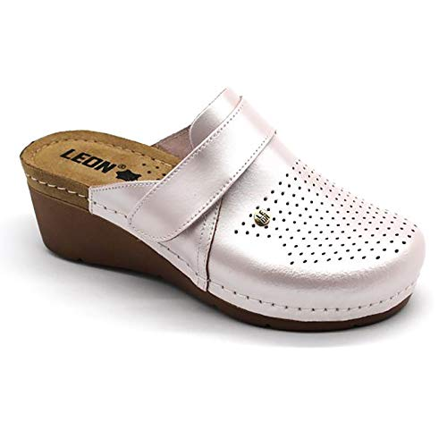 LEON 1001 Zoccoli Sabot Pantofole Scarpe Pelle Donna, Perla, EU 38