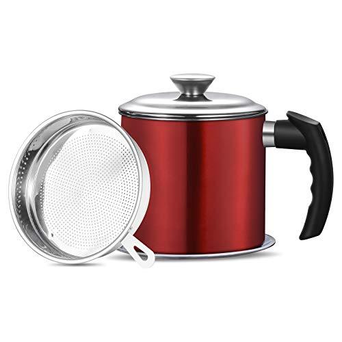 Haosens Cocina Filtro de Aceite 1200ml, 304 Acero Inoxidable Depósito de grasa con filtro - Adecuado para almacenar Aceite de fritura y Grasa de Cocina (Rojo)