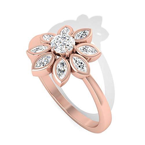 Rosec Jewels 14 quilates oro rosa marquesa Round Brilliant Moissanite