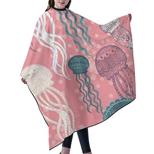 GAHAHA Friseursalon-Haarschneideumhang Quallen Pink Unisex Friseursalon Umhang Tuch Färben Haar Schutz Spezialisierte Wickelschürze 140 x 168 cm