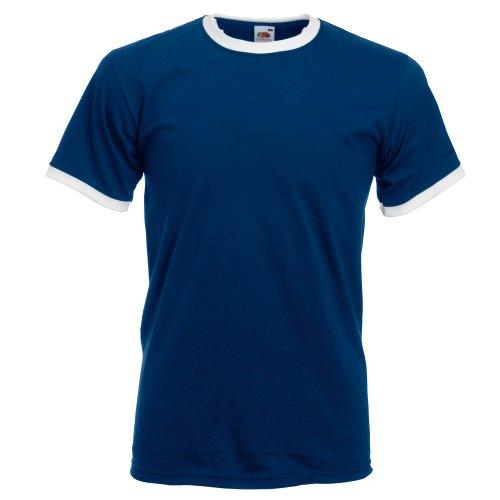 Fruit of the Loom Mens Ringer Short Sleeve T-Shirt (L) (Navy/White)