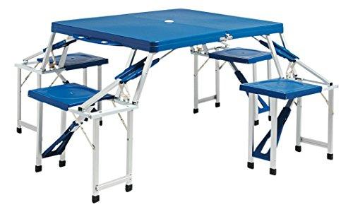 Bertoni Picknick Jumbo Lusso Abs Blu tafel en 4 stoelen, kan in één koffer worden ingeklapt, blauw, eenheidsmaat