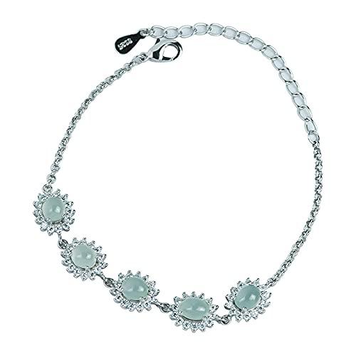Pulsera para mujerS925 Pulsera de jade birmano natural con incrustaciones de plata Pulsera de personalidad ajustable de moda Regalo de joyería para mujer, Plata