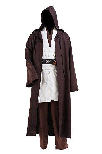 Star Wars Yoda Jedi Obi Wan Kenobi Cospaly Kostüm Tunika Herren Mantel Weiß, Braun/Beige, S