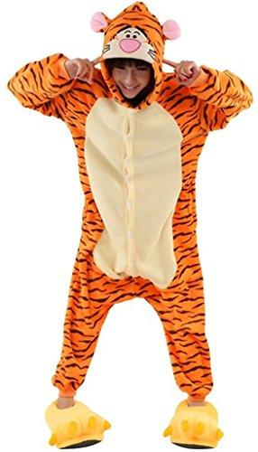 RENÉE Erwachsene Unisex Anime Tier Kostüm Cosplay Overall Pyjama Outfit Nacht Kleidung Onesie Fleece Halloween Kostüm Soiree von DEGUISEMENTS Gr. Medium, Tigermuster