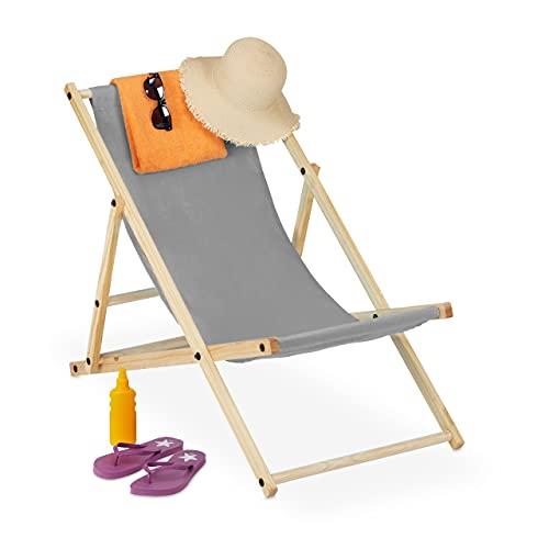 Relaxdays Liegestuhl klappbar, Holz & Stoff, Klappliege für Balkon, Garten, Strand, 3 Liegepositionen, Sonnenliege, grau