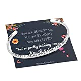M MOOHAM Encouragement Gifts Inspirational Bracelets for Women, Engraved Mantra Cuff Bracelet Uplifting Jewelry Motivational Gifts for Friends