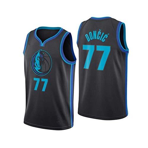 HANJIAJKL Hombre Ropa de Baloncesto NBA Dallas Mavericks 77 Doncic Jersey Camiseta de Baloncesto da Bordado,B,XL