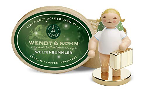 Wendt & Kühn 650/124/LE globetrotters, engel met koffer op metalen sokkel, in spaandoos, Limited Goldedition