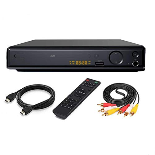 DVD Player, 4K UHD 1080P DVD Player, DVD/SVCD/CD/VCD Player mit AV Kabel, HDMI Kabel und Fernbedienung, USB Multimedia Player Funktion, Heimkino Disc Player (EU Stecker)
