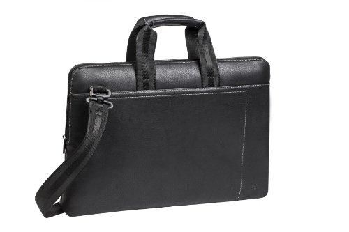 """RIVACASE Tasche für Laptops bis 15.6"""" - Sehr kompakte Businesstasche aus hochwertigen Kunstleder mit viel Stauraum - Schwarz"""