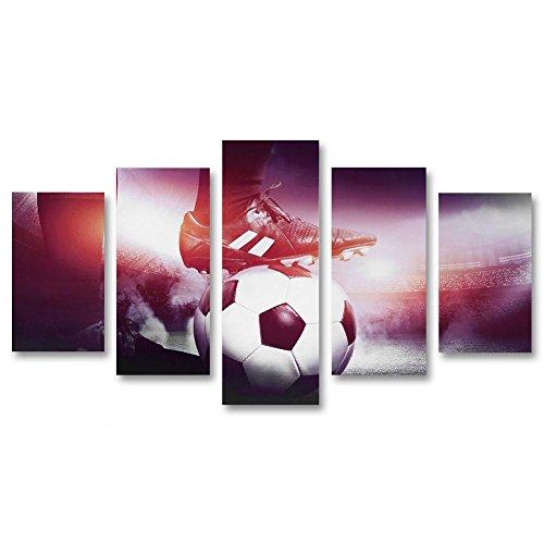 Fdit Canvas Muurschilderingen, Voetbal & Schoenen Canvas Schilderij 5 Panelen Gedrukt Beeld Muur Art Home Office Slaapkamer Decor
