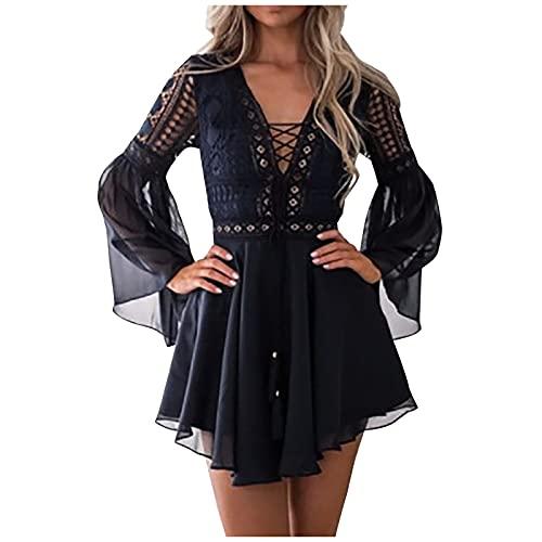Hailmkont Vestido de encaje para mujer, elegante, de manga larga, bohemio, con bordado, campana, mangas, vestido de playa con cintura, vestido de verano, Negro , S