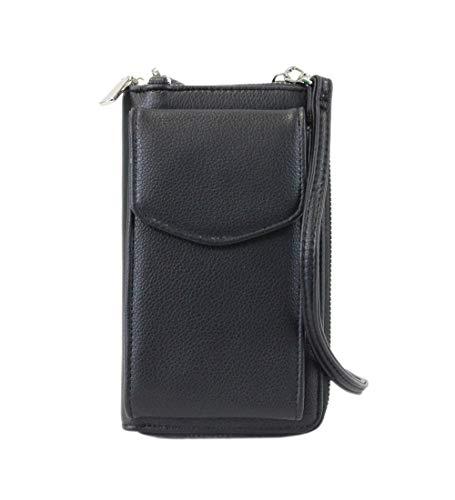 irisaa Damen Handy Umhängetasche Geldbörse RFID Schutz - Crossbody Handtasche Schultertasche Brieftasche mit Handyfach und Verstellbarem Schultergurt, Damen Tasche:weich-schwarz