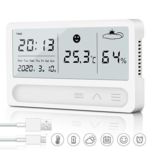 TBoonor Hygrometer Thermometer Innen, Wiederaufladbar Digitales Thermo Hygrometer mit Wecker und 2s Schnelle Erkennung, Hohen Genauigkeit Hydrometer Feuchtigkeit für Babyraum Büro