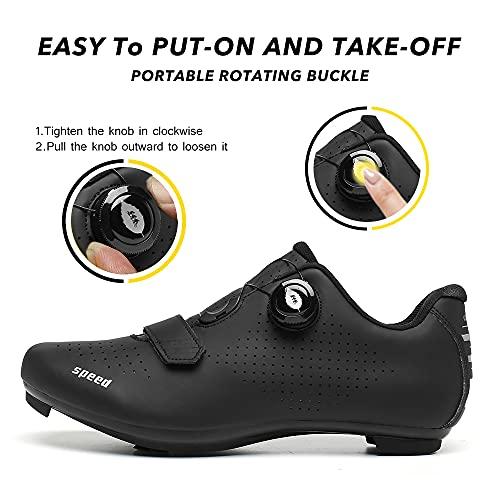 Zapatillas de Ciclismo Zapatillas MTB para Hombre Zapatillas de Bicicleta de Carretera Zapatillas de Ciclismo Deportivas Completas Zapatillas de Ciclismo de Carretera Negro 41