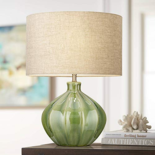 Gordy Modern Contemporary Accent Table Lamp Handcrafted Ribbed Green Ceramic Oatmeal Fabric Drum Shade Decor for Living Room Bedroom House Bedside Nightstand Home Office Family - 360 Lighting
