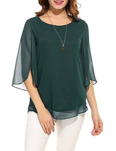 ACEVOG Women's Cute 3/4 Sleeve Chiffon Blouse Casual Top Shirts (Green Black Jasper, Large)