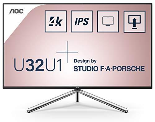 AOC U32U1 - 32 Zoll UHD Monitor, Porsche Design, höhenverstellbar, HDR600 (3840x2160, 60 Hz, HDMI 2.0, DisplayPort, USB-C, USB Hub) schwarz/silber