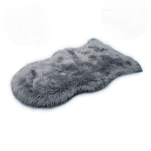ムートンラグ 人工ウール ふわふわ 柔らかい 高級感あるソファシートマットリビングルームラグ (グレー, 60*160cm)