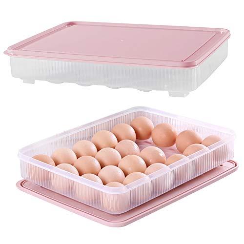 2 recipientes de plástico para huevos con tapa y 24 rejillas, para nevera, color rosa