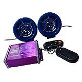 Shiwaki DC12V Audio de Moto con 2 Altavoces, Admite Música MP3 a Través de Tarjetas SD y una Interfaz USB, un Punto de Atracción - Púrpura + Azul