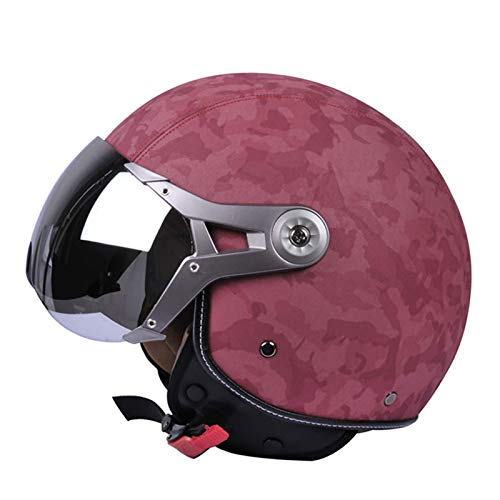 JEANN-MThelmet Scooter Casco de Cuero de Cara Abierta Retro Electric Motorcycle Riding Half Helmet Anti-Stun Anti-UV Bubble Mirror and Dust Mask,Rojo,L