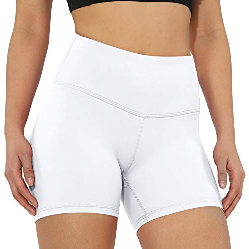 Smileyth Womens Athletic Yoga Shorts Solid Color Fashion Design High Waist Tummy Control Workout Running Non See-Through Pants