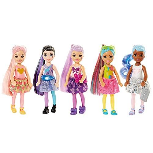 Barbie Color Reveal mini-poupée Chelsea avec 6 éléments mystère, série Paillettes, 4 sachets surprise, modèle aléatoire, jouet pour enfant, GTT23