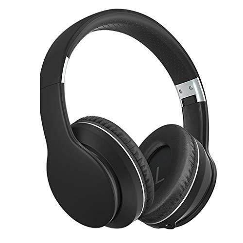 WYH Música Auriculares Bluetooth sobre oído, Auriculares estéreo inalámbricos con Auriculares inalámbricos y con Cable con, TV/teléfono Celular/PC Resistente al Sudor (Color : Black)