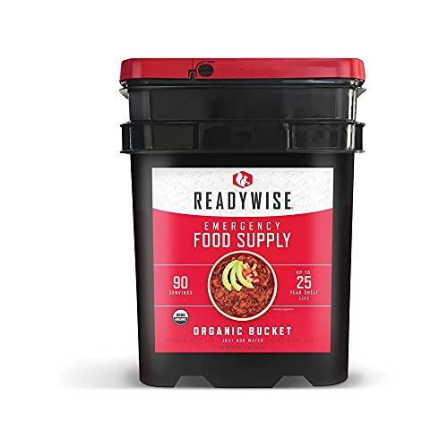 ReadyWise Emergency Food Supply, Organic Breakfast and Lunch Variety Pack, Survival-Food Disaster Kit for Hurricane Preparedness, Camping Food, Prepper Supplies, Emergency Supplies Bucket, 90 Servings