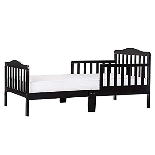 "Dream On Me Classic Toddler Bed in Black with 2-in-1 Breathable Twilight 5"" Spring Coil Crib and Toddler Bed Mattress with Reversible Design, White/Brown"