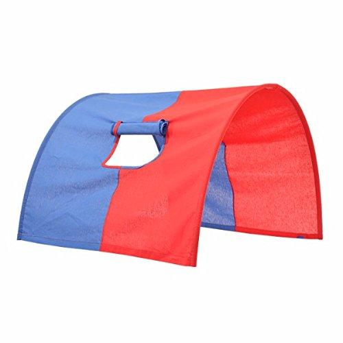XXL Discount Tunnel voor hoogslaper, voor hoog- en stapelbedden, boogtent, verbergen holte, beddak, speeltunnel voor kinderbed, 100% katoen, stapelbed, hoogslaper, speelbed, kleur: blauw/rood