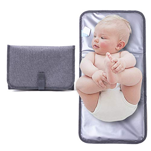 ISAMANNER Changing Pad - Portable Changing Pad,Lightweight Travel Station Kit for Baby Diapering,Diaper Changing Pad,Diaper Clutch,Diaper Pouch,Diaper Mat,Travel Changing Mat (Grey Simple)
