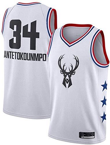 Shelfin Maillots de hombre Milwaukee Bucks No.34 Antetokounmpo Maillots de baloncesto bordado transpirable (color: blanco A, tamaño: XXL)