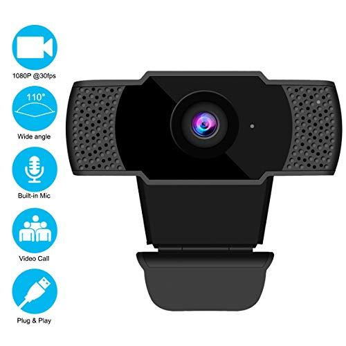 shenkey Webcam con Microfono, HD1080P Webcam Streaming Videocamera Web Videocamera USB 2.0 per PC per videochiamata, Studio, conferenza, Registrazione