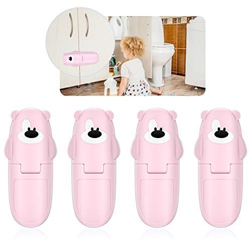 Cerraduras de armario de seguridad para bebé – Paquete de 4 cajones a prueba de niños cerraduras para puertas de almacenamiento de cocina, baño, armario, horno, refrigerador (rosa)