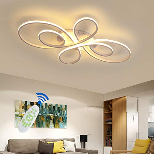 LED Deckenleuchte Chic Wohnzimmer Deckenlampe Modern Geometrischer Design Deckenlicht Dimmbar Mit Fernbedienung Aluminium Kieselgel Lampe Esstisch Küche Beleuchtung [Energieklasse A++],Weiß,ø100cm